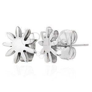 Stalowe kolczyki srebrnego koloru - lśniący kwiatek, wkręty obraz