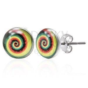 Kolorowe kolczyki ze stali - spirala obraz