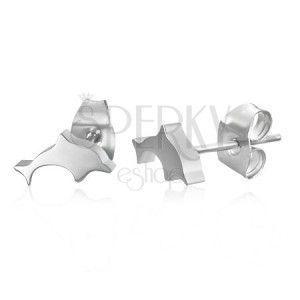 Stalowe kolczyki wkręty - delfiny, srebrny kolor obraz