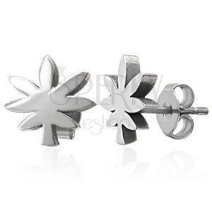 Stalowe kolczyki srebrnego koloru - liść marihuany obraz