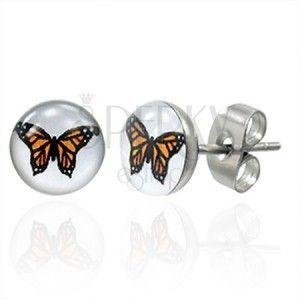 Stalowe kolczyki, pomarańczowy motyl obraz