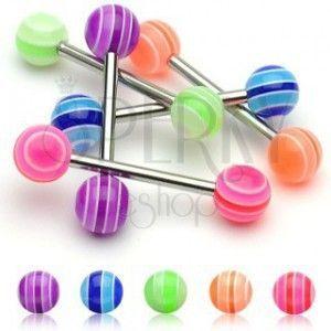 Kolczyk do języka - Multicolor Ball UV obraz