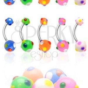 Piercing do pępka kolorowe kropeczki obraz