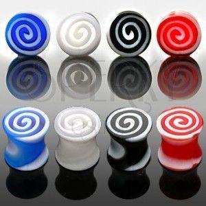 Plug do ucha - kolorowe spirale obraz
