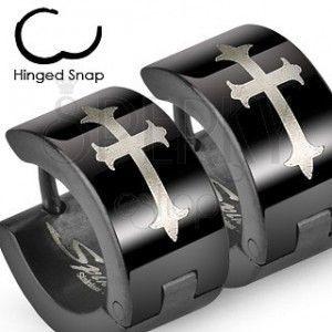 Czarne stalowe kolczyki z krzyżem liliowym w srebrnym odcieniu obraz