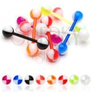 Kolczyk do języka UV kolorowe ćwiartki obraz