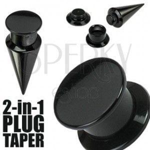 Taper i plug 2 w 1 czarny obraz