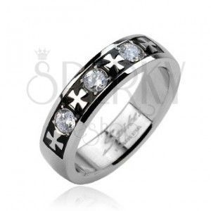 Stalowy pierścionek - trzy cyrkonie i krzyże obraz