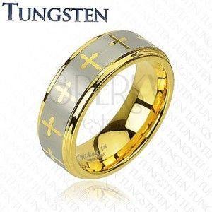 Tungsten pierścionek - obrączka ze wzorem krzyża obraz