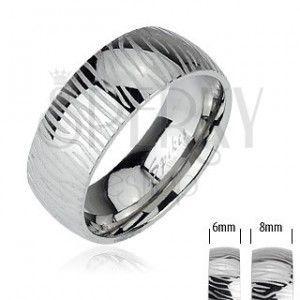 Stalowy pierścionek - wzór zebra obraz