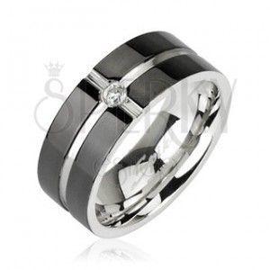 Stalowy pierścionek - wzór krzyż, cyrkonia na środku obraz