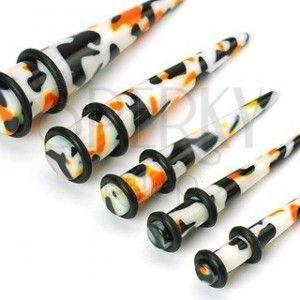 Plug do ucha - biały, czarno-pomarańczowe plamy obraz