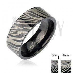Stalowa obrączka - czarna zebra obraz