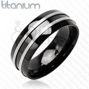 Czarny pierścionek z tytanu - dwa cienkie srebrne pasy obraz