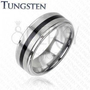 Wolframowy pierścionek srebrnego koloru - czarny środkowy pas obraz