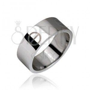 Srebrny stalowy pierścionek, gładki, wzór tabletka obraz