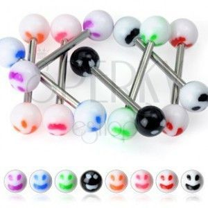 Piercing do języka - kolorowy uśmiech obraz
