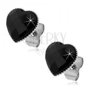 Kolczyki ze stali 316L - czarne oszlifowane serduszko, wkręty obraz
