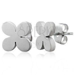 Stalowe kolczyki srebrnego koloru - TABONO kwiatek, wkręty obraz