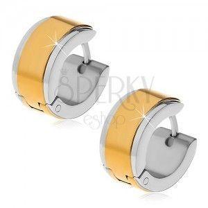 Kolczyki ze stali 316L - krążki ze środkowym pasem złotego koloru obraz