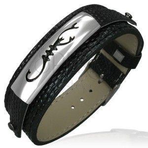 Bransoletka w stylu zegarka, skóra węża ze skorpionem obraz