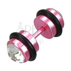 Fake piercing różowy z cyrkoniami obraz