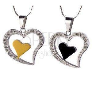 Para stalowych zawieszek - serce dla zakochanych obraz