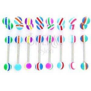 Piercing do języka - kolorowe półokręgi, paseczki obraz