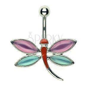 Kolczyk do pępka ważka - różowo-niebieskie skrzydła obraz