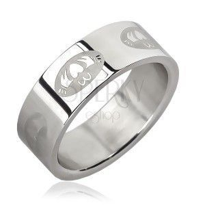 Stalowy pierścionek - serce w owalu obraz