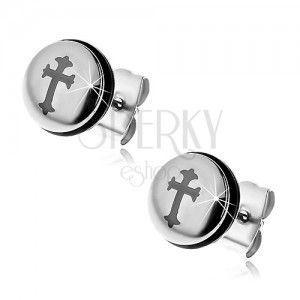 Stalowe kolczyki srebrnego koloru, koło z krzyżem i czarną gumką obraz