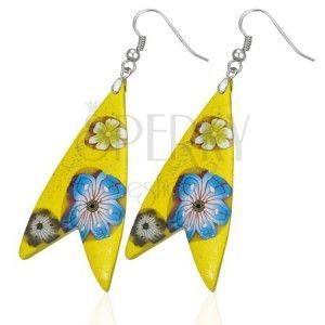 Kolczyki Fimo - żółty trójkąt, w kształcie rybki, kwiatki obraz