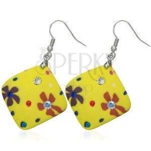 Kolczyki Fimo - żółte kwadraty, kwiatki i cyrkonie obraz