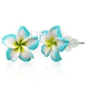 Małe kolczyki Fimo - turkusowo - biały kwiatek obraz