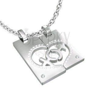 Zawieszka dla pary - prostokąt, serce, znak Mężczyzna i Kobieta, cyrkonie obraz