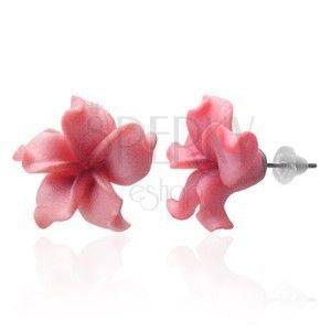 Kolczyki Fimo kwiatek - pofalowane różowe płatki obraz