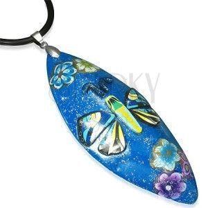 Naszyjnik z masy FIMO - niebieski owal, motyl obraz