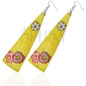 FIMO wiszące kolczyki - żółte trójkąty, kwiatki obraz