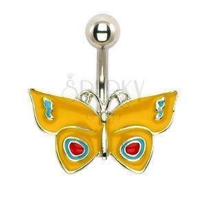 Kolczyk do brzucha - żółty motyl obraz