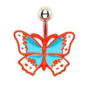 Kolczyk do pępka - lany motyl retro obraz