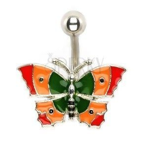 Piercing do brzucha - kolorowy motyl obraz