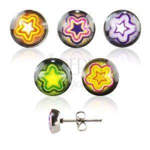 Okrągłe kolczyki ze stali - kolorowa gwiazda obraz