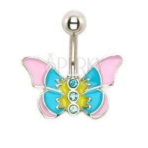 Piercing do brzucha - pastelowy motyl z cyrkoniami obraz
