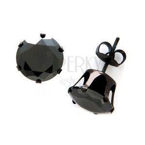 Kolczyki ze stali - czarna cyrkonia obraz