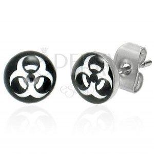 Kolczyki ze stali - okrągłe, symbol BIOHAZARD obraz