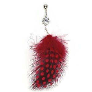 Piercing brzucha cyrkonia i czarno-czerwone piórko obraz