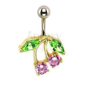 Piercing do pępka - czereśnie, różowe i zielone cyrkonie, złota oprawa obraz