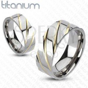 Tytanowy pierścionek - srebrny, złote paseczki obraz