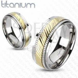 Tytanowy pierścionek - dwukolorowy, z rowkami obraz