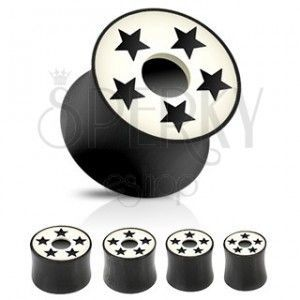 Plug do ucha siodełkowy - czarno-biały, gwiazdy obraz